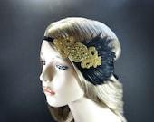 Great Gatsby Headband, Silver OR Gold Gatsby Headpiece for Gold Gatsby Dress, Feather Fascinator, Flapper Headband, Gatsby Party