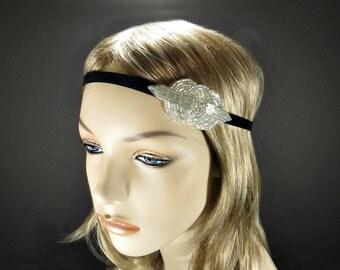 1920s Hair Accessory Flapper Headpiece, Art Deco, 1920s Headband, Flapper Headband, Beaded Headband, Great Gatsby, Gatsby Headband