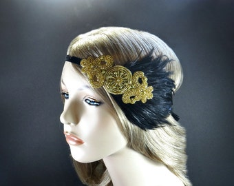 Gatsby Headpiece, Flapper Headband, Flapper Costume, 1920s Headpiece, Art Deco Headband, Black Feathers & Gold Beaded Headband Christmas