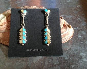 Sterling Silver, Tourquoise and Mother of Pearl, Zuni Inlaid Dangle Earrings
