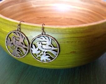 Bronze Cutout Bird Earrings