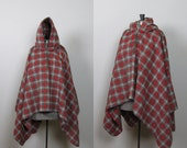 Vintage 1950s 1960s Red Plaid Wool Hooded Cape. Mid Century Outdoors Poncho. St Louis Trading Co.