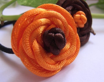 A pair of  Rose Ponytail Holders, handmade by Chinese knot - orange, yellow or orange, brown