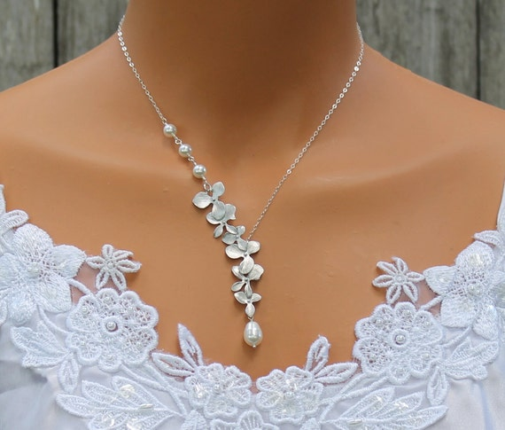 Wedding Gift Necklace : Necklace, Cascade Orchid Necklace, Wedding Gift, Bridesmaid, Bridal ...