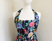 English country garden  - Flowery 1980's Halter Summer Dress by Together - Size 8