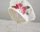 Ivory and Pink Apple Blossom Beret