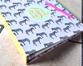 Customized Monogrammed Personalized 3-Ring Binder - School, Office and Home Organize