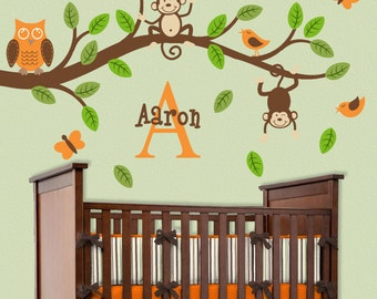 Monkey Branch Wall Decal Safari Jungle Nursery Decor Initial Name Personalized