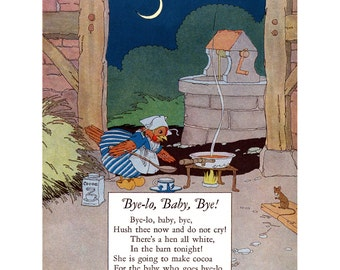 Nursery Rhyme Print - French Chicken Cooks for Baby - Petersham Repro