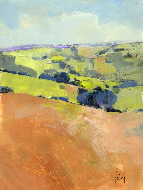 Semi Abstract Landscape Original Painting Downland One
