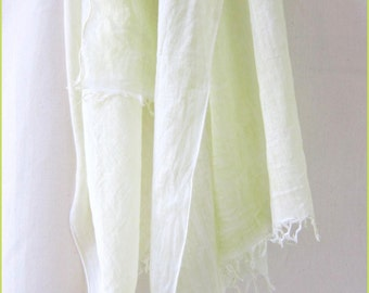 Lime Green Scarf, Green Cotton Scarf, Hand Painted Scarf, Green Scarf, 100% Cotton Scarf,  Summer Scarf,  Pale Green Scarf, USA, Hand Dyed