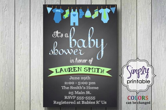 Baby Shower Invite Clothesline