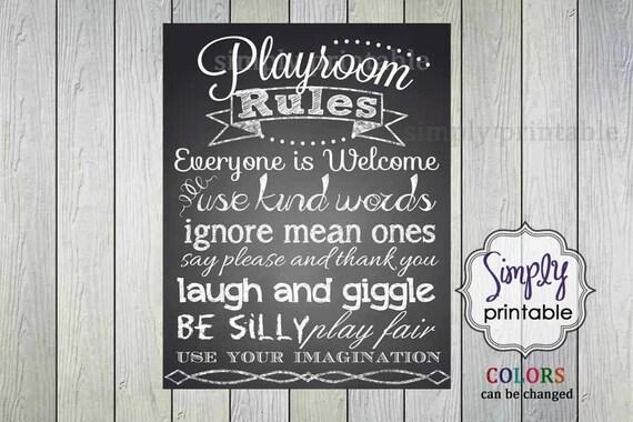 Playroom Rules Print (Printable 11x14  Print)