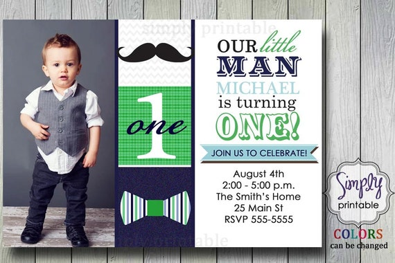 Little Man Bowtie & Mustache Invitation