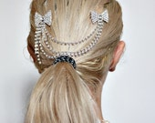 Bow Rhinestone Chain Hair Clips 1920s style flapper headband NO.240