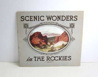 Scenic Wonders in the Rockies, Hand Colored Photo Souvenir Book