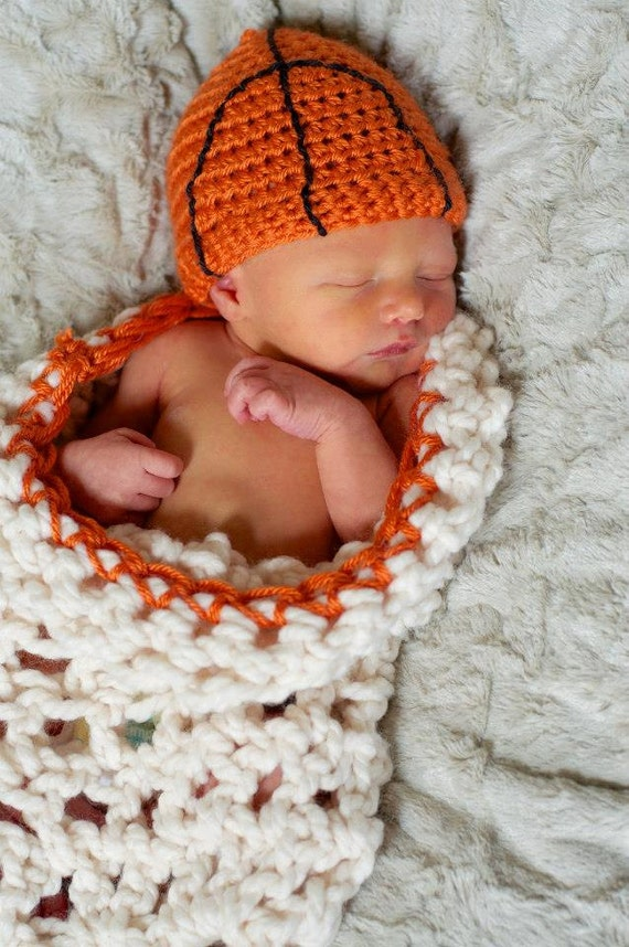 Basketball crochet net cocoon with matching by BlossomBella