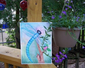 "Dragonfly painting Original watercolor painting of a blue dragonfly .  9""x 12"""