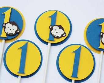 Monkey - Number One Cupcake Toppers (12)