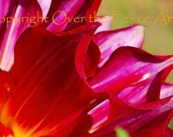 Flower Greeting Card Inside a Dazzling Dahlia in Red Magenta Flower Photography