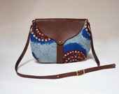 The Taplin Purse in Blue and Red Burst Print, Cove Green Waxed Canvas and Dark Brown Leather