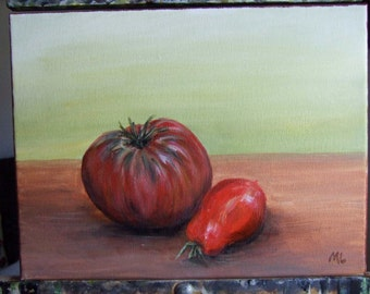 Kissing Cousins Krim and Roma Tomato 9x 12 Original Acrylic Painting