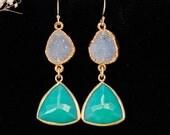 Chrysoprase Earrings - Druzy Earrings - Drop Earrings - Statement Jewelry - Bridal Earrings - Gold Earrings