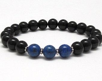 Lapis Lazuli, Onyx Beaded Bracelet, Chakra Bracelet Worry Mala Beads Anniversary Birthday Girlfriend Recovery Grad Retirement Gift for Women