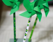 Spinning Green Shamrock St. Patrick's Day Favors 6 Mini Pinwheel pencils (Custom orders welcomed) - aubabi78