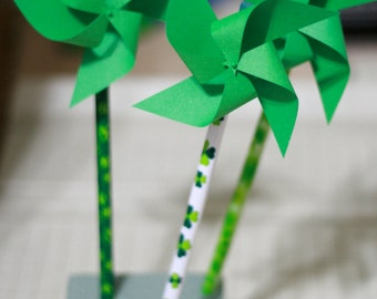 Shamrock Spinning Green Shamrock St. Patrick's Day Favors 6 Mini Pinwheel pencils (Custom orders welcomed)