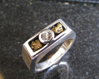 Gold Nugget Ring, Gold Nugget Jewelry, White Sapphire Ring, White Sapphire, Mens Ring Gold, Unique Mens Ring, Unique Wedding Band, Gold Ring