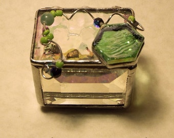Beautiful Beveled Glass Box with Iridescent Stained Glass Lid Gift Handcrafted Handmade Artisan