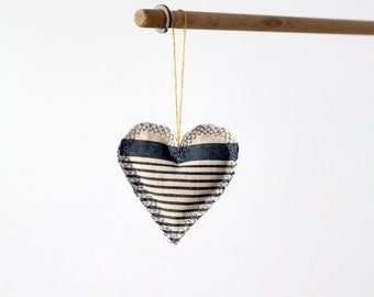 Heart Ornament, french ticking and denim