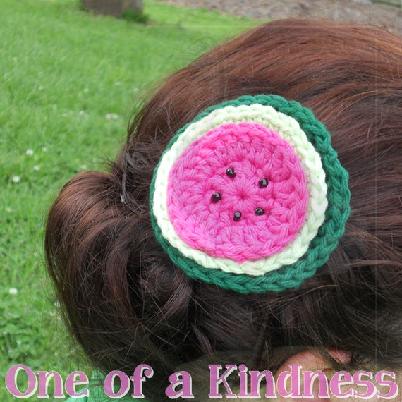 Cotton Crochet Watermelon Hair Clip with Beads