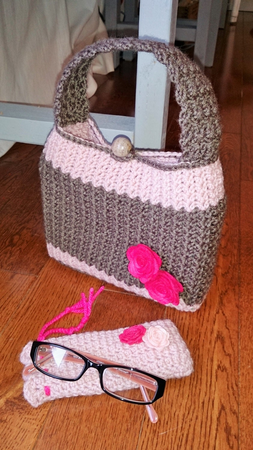 Book Cover Crochet Pattern : Book or bible cover and eyeglass case set crochet pattern