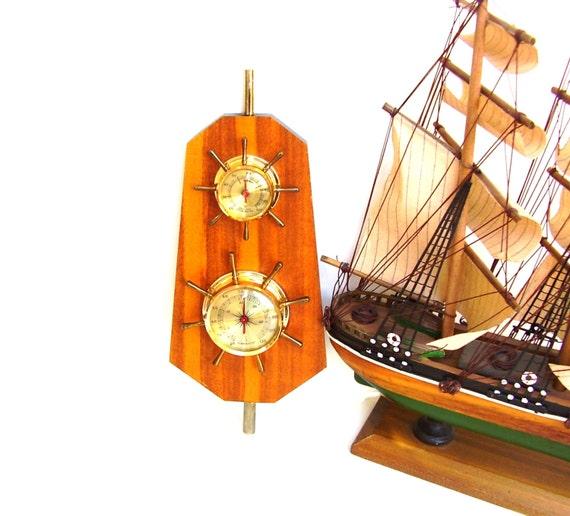 Vintage Nautical Bedding: Vintage Nautical Weather Hygrometer Ship Wheel By
