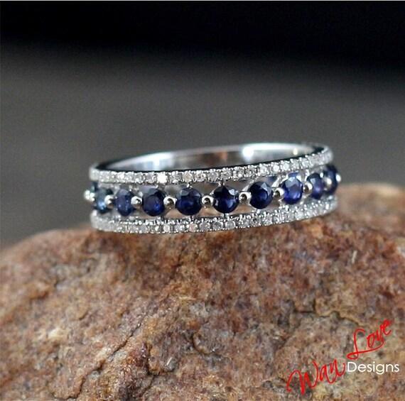 Sapphire Amp Diamond Almost Eternity Wedding Band Ring Triple 3