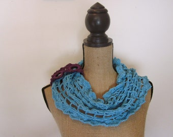 Aqua, Teal Mesh Cowl with Purple Bracelet Band for Styling, Versatile Neckwarmer, Infinity Scarf, Crochet
