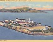 The Rock- 1940s Vintage Postcard- Alcatraz Island Prison- Jail- San Francisco Bay, California- Souvenir Card- Paper Ephemera