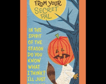 """Happy Halloween From Your Secret Pal- 1960s Vintage Card- Signed in """"Invisible Ink""""- Jackolantern- Pumpkin Head- Rust Craft- Paper Ephemera"""