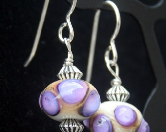 Handcrafted Ivory with Purple Raised Accents Lampworking Sterling Silver Earrings
