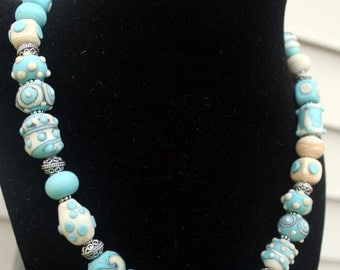 Ivory Turquoise Etched Matte Lampwork Necklace Toggle Clasp