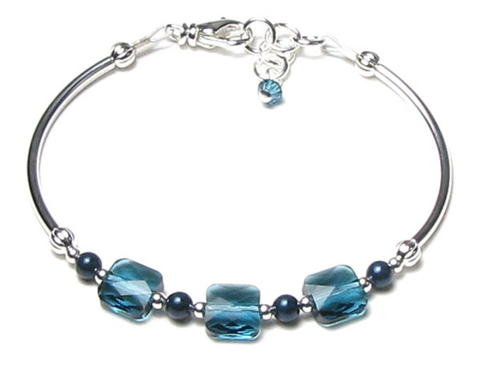 Teal Blue Green Indicolite Swarovski Crystal Mini Square Petrol Pearl Adjustable Silver Bracelet, Minimalist Bracelet, Tube Bead Jewelry
