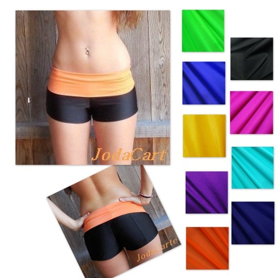Black Yoga Shorts With Fold-Over Band Girls' Sizes By