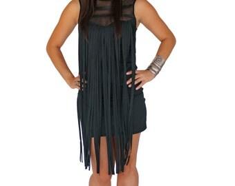 Fringe Dress mesh and leather mini bodycon boho