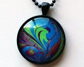 Hand Painted Portable Art Necklace in Bright Green, Cerulean Blue, Purple & Pink - Art to Wear around Your Neck!
