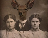 Deer Art Print, Mixed Media Collage, Altered Family Photo, Brother Deer, 5x7 Print, Twin Sisters Art