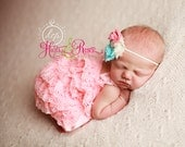 Romper-Newborn coming home outfit- 2pc Coral Petti Lace Romper n Headband,Baby Romper,Lace Romper,Baby Girl coming home Outfit-Lace Romper