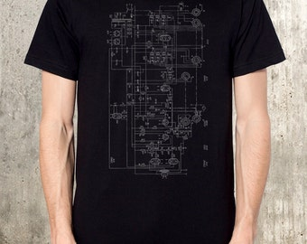 Old Radio Diagram - Men's T-Shirt - American Apparel - Available in S, M, L, XL and XXL