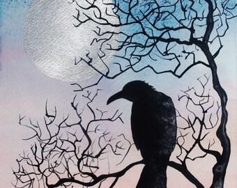Crow evening - Scottish corbie -  A4 print